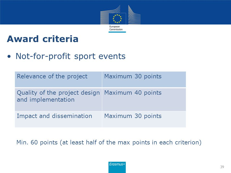 Award criteria Not-for-profit sport events Relevance of the project