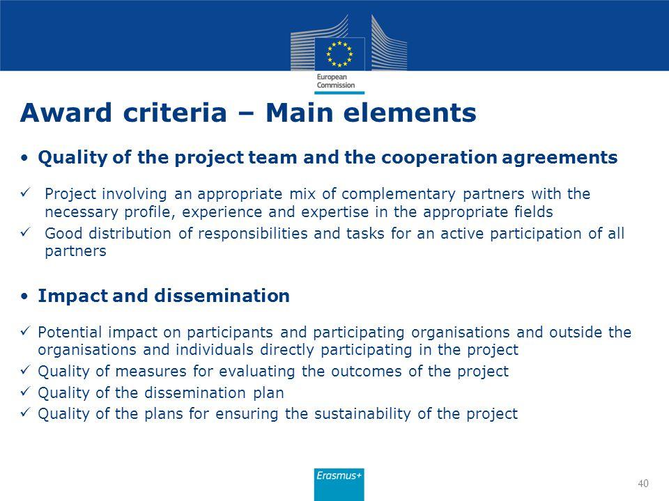 Award criteria – Main elements