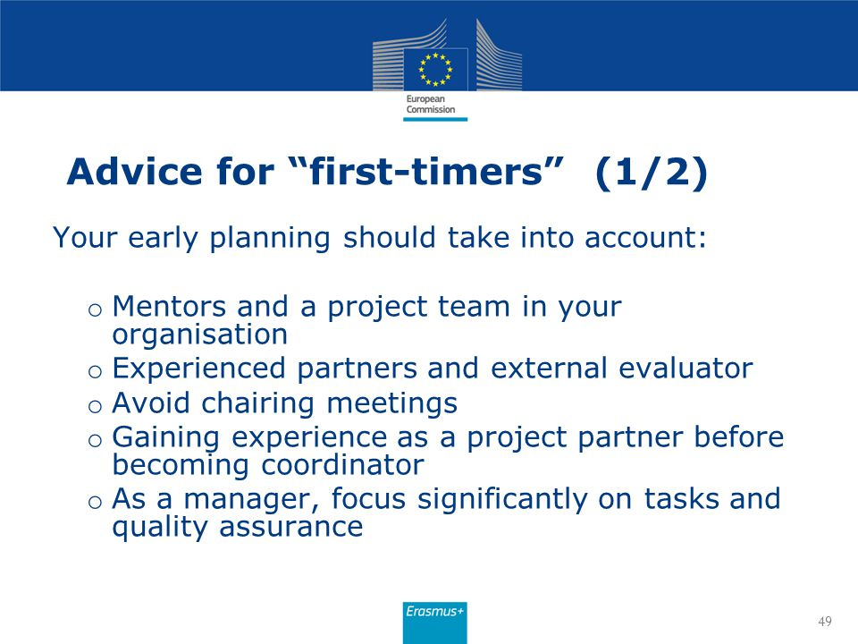 Advice for first-timers (1/2)