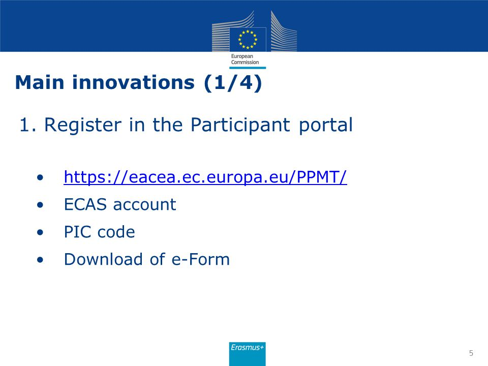 1. Register in the Participant portal