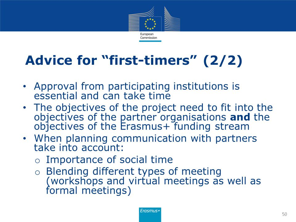 Advice for first-timers (2/2)