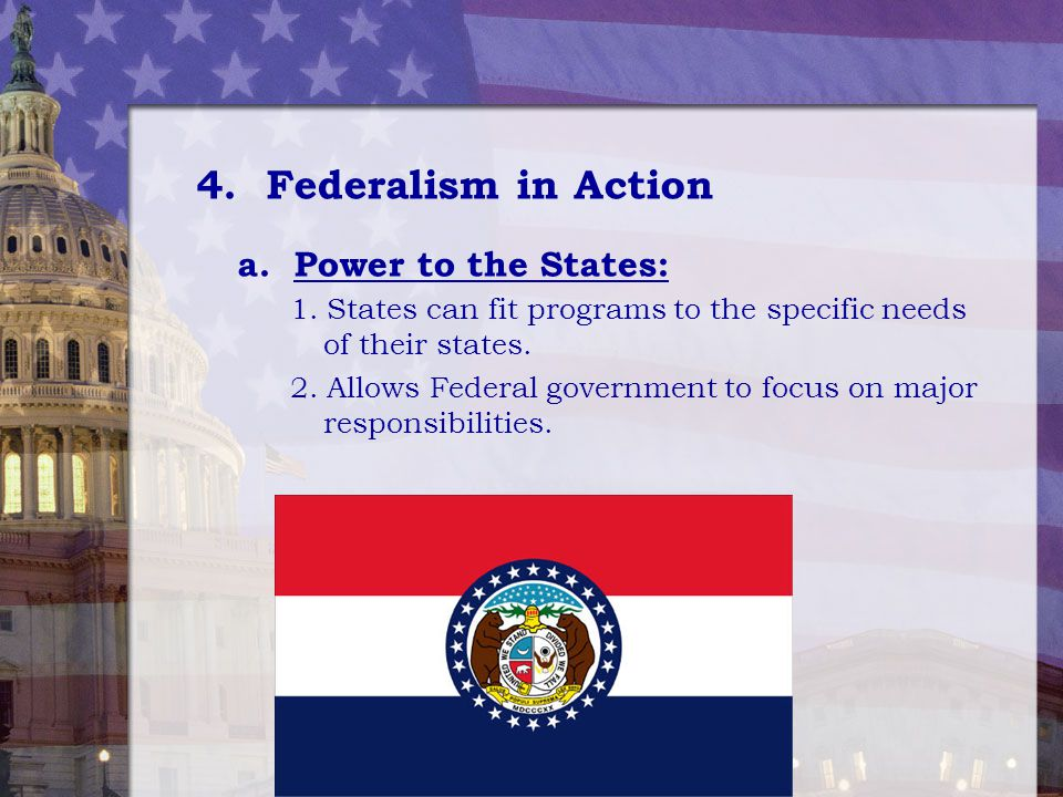 4. Federalism in Action a. Power to the States: