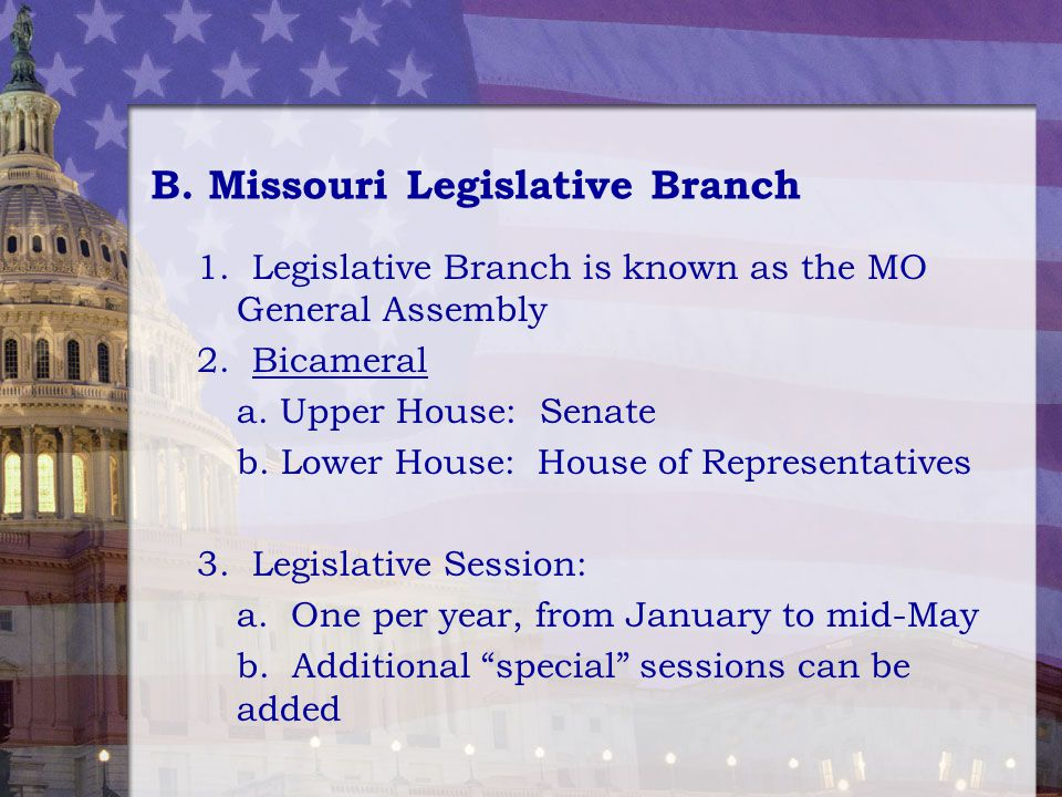 mo legislative branch Vote smart provides free, unbiased, in-depth information about current officials,  candidates, issues, legislation, and voting non-partisan and nonprofit since.