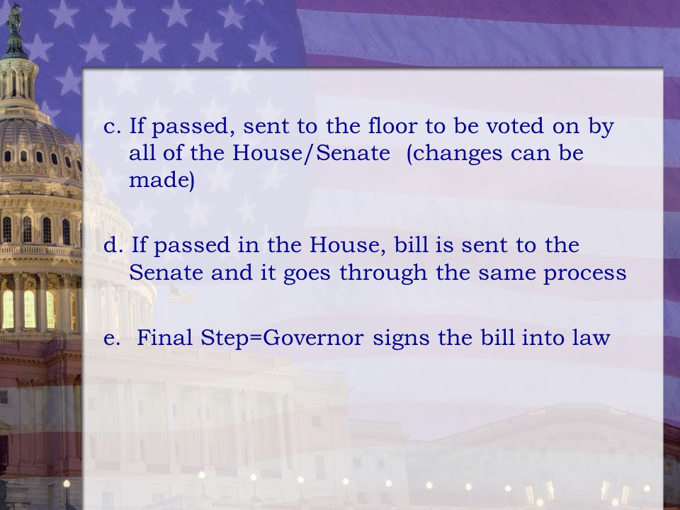 c. If passed, sent to the floor to be voted on by all of the House/Senate (changes can be made)