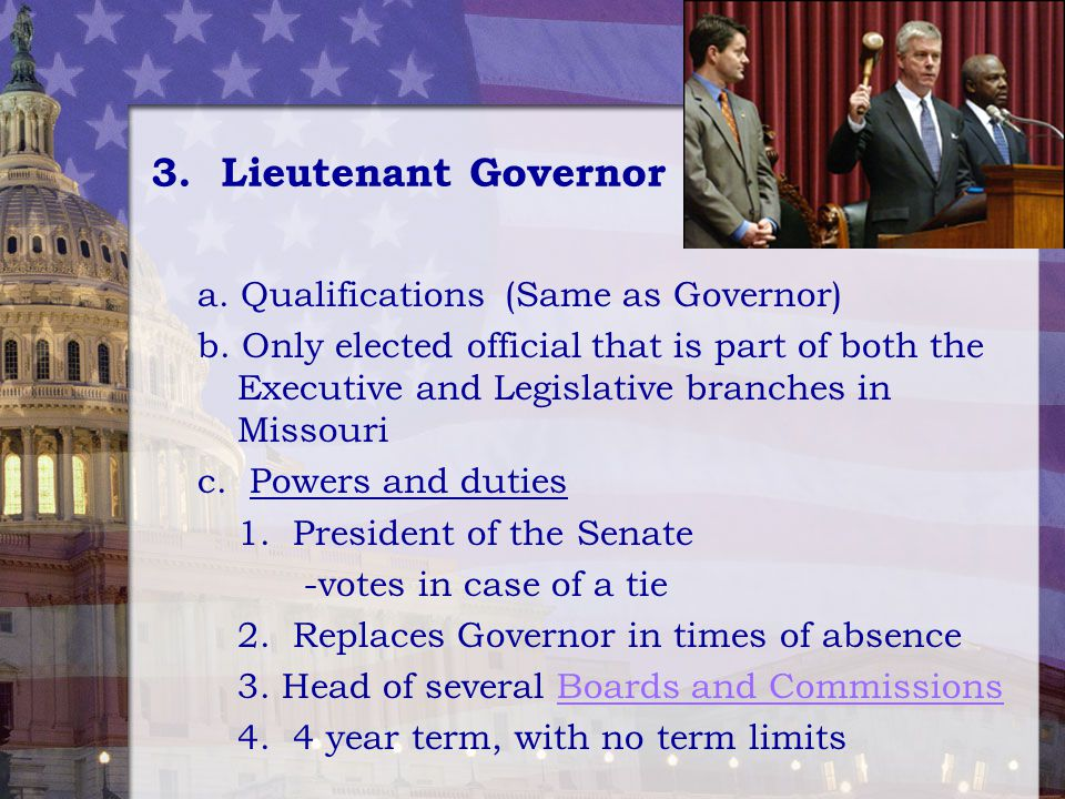 3. Lieutenant Governor a. Qualifications (Same as Governor)