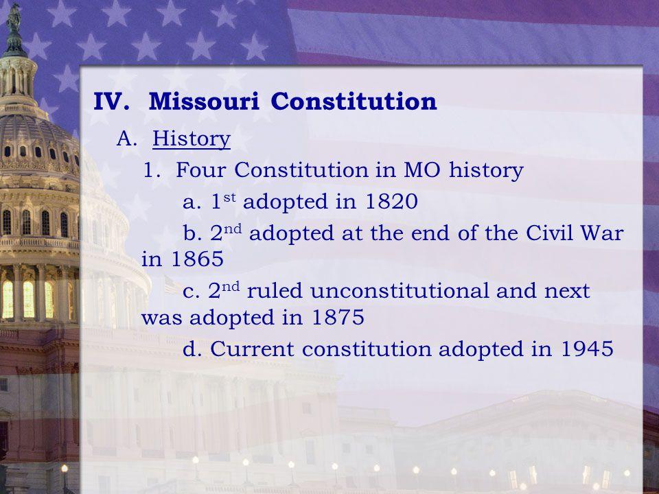 IV. Missouri Constitution