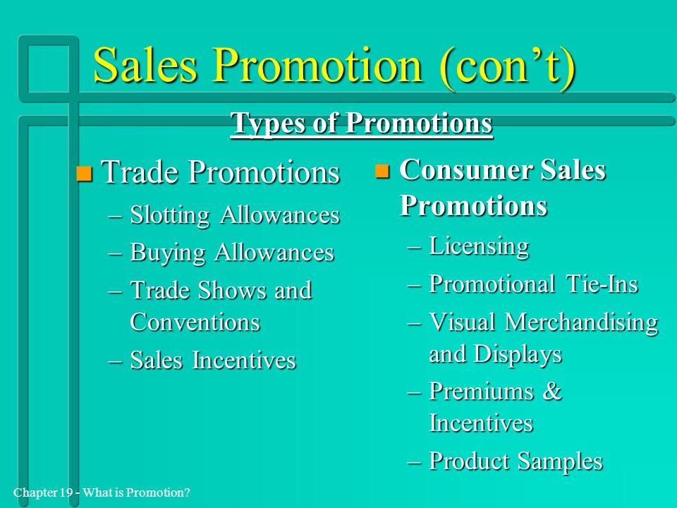 Sales Promotion (con't)