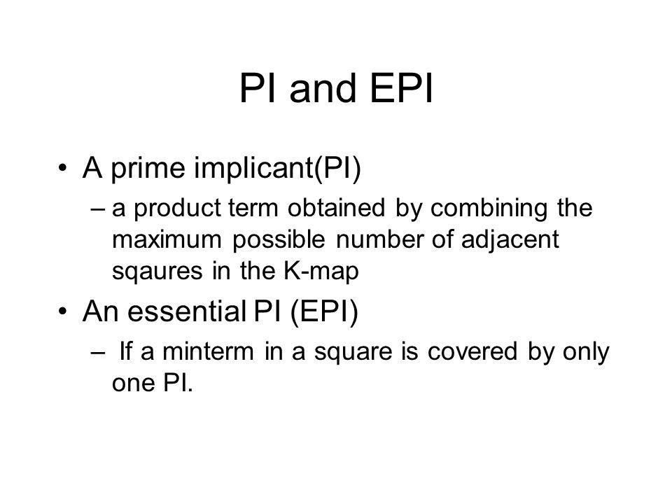 PI and EPI A prime implicant(PI) An essential PI (EPI)