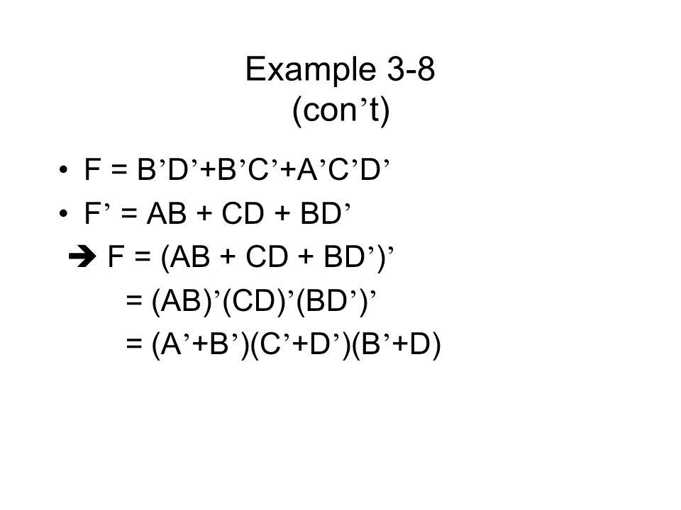 Example 3-8 (con't) F = B'D'+B'C'+A'C'D' F' = AB + CD + BD'