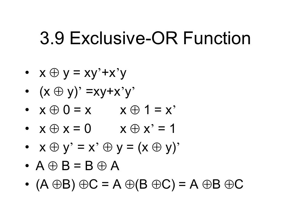 3.9 Exclusive-OR Function
