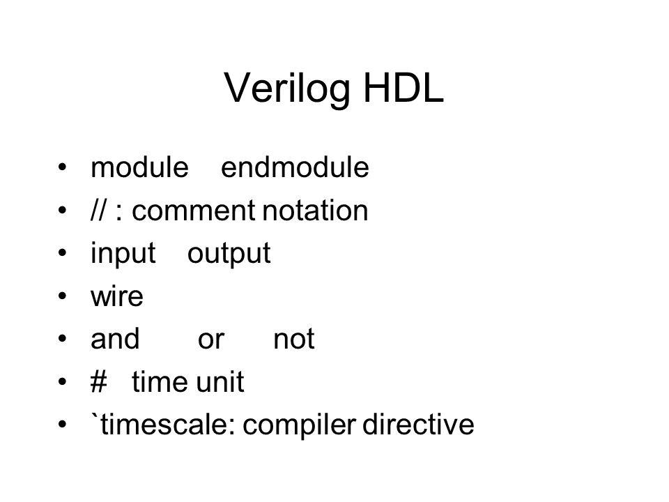 Verilog HDL module endmodule // : comment notation input output wire