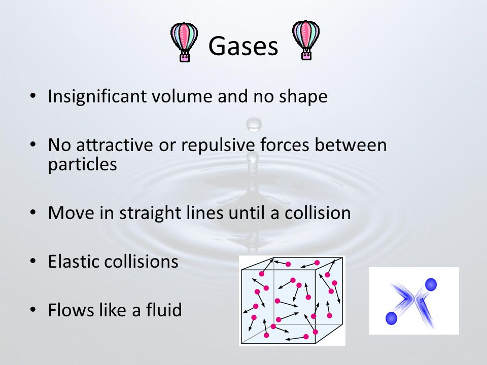 Gases Insignificant volume and no shape