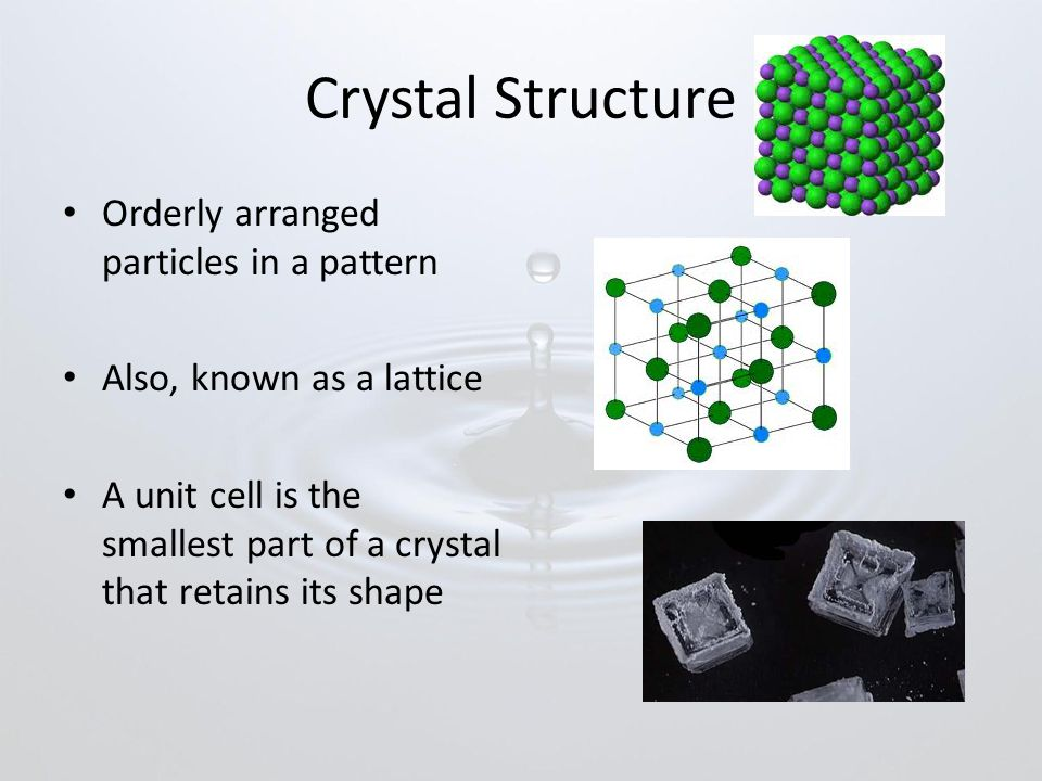 Crystal Structure Orderly arranged particles in a pattern