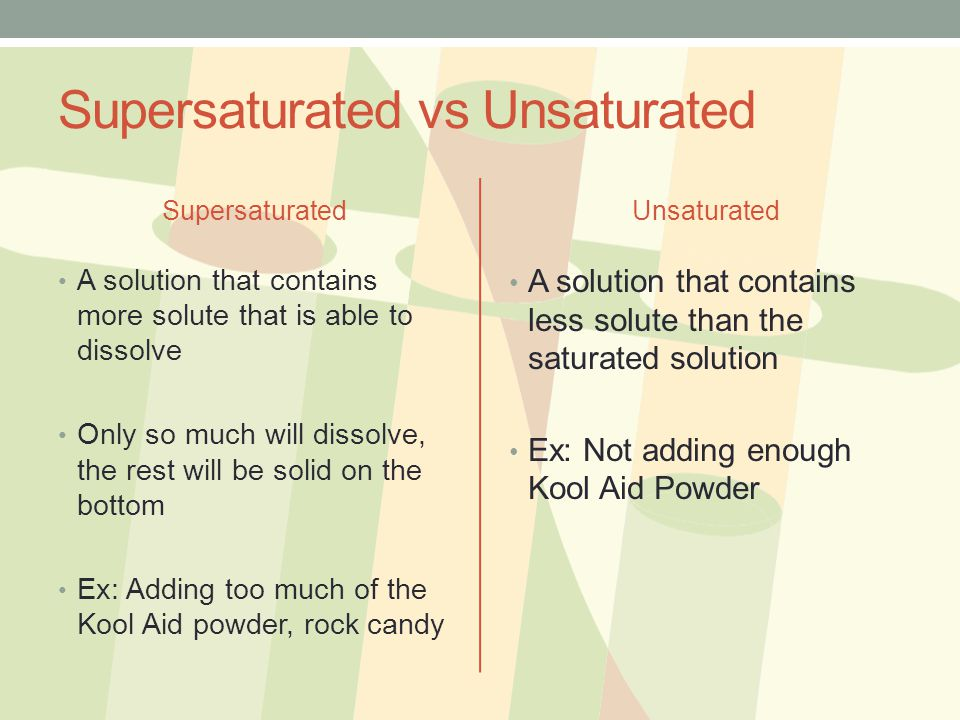 Supersaturated vs Unsaturated