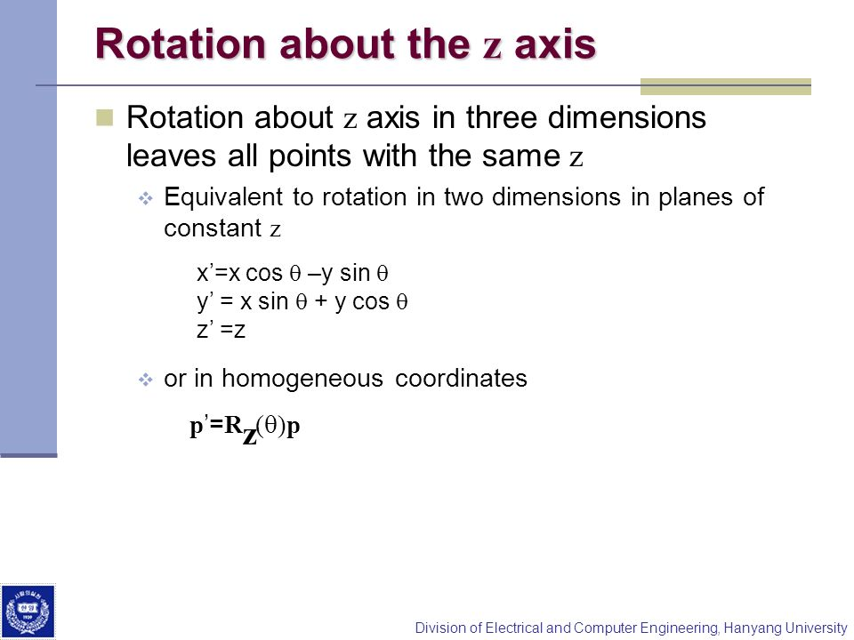 Rotation about the z axis