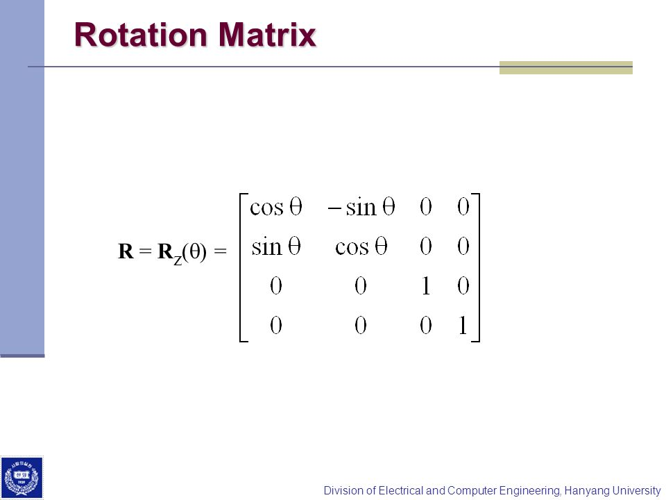 Rotation Matrix R = Rz(q) =