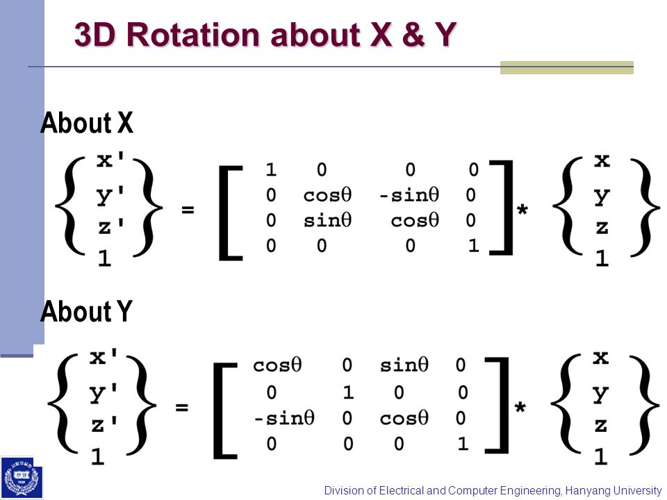 3D Rotation about X & Y About X About Y