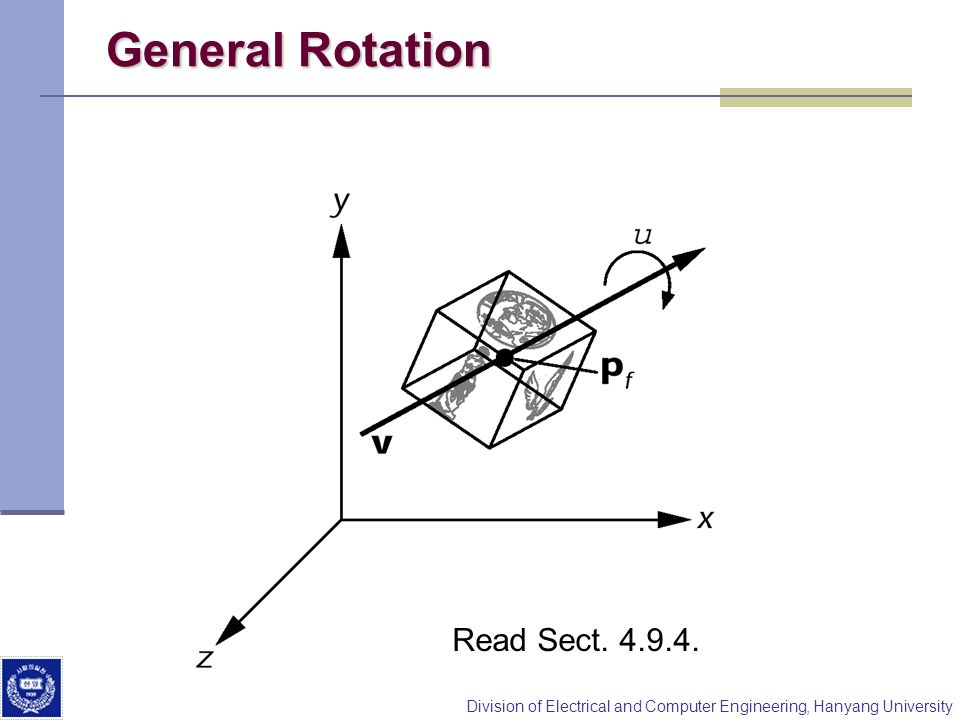 General Rotation Read Sect. 4.9.4.