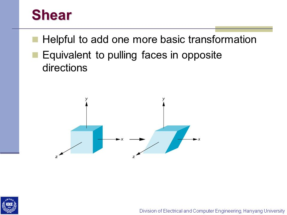 Shear Helpful to add one more basic transformation