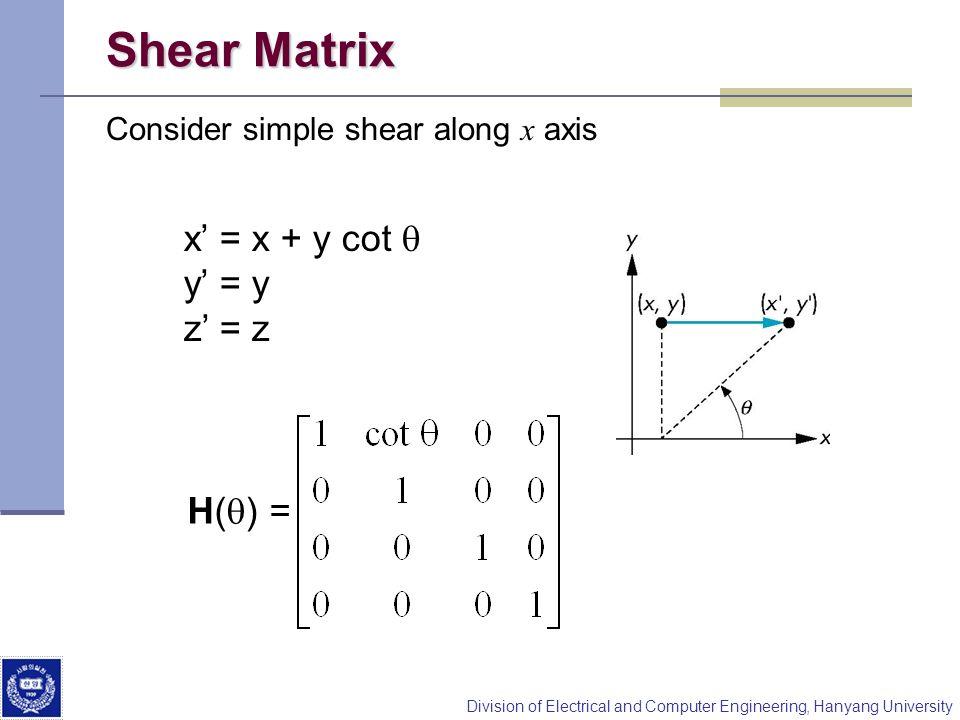 Shear Matrix x' = x + y cot q y' = y z' = z H(q) =
