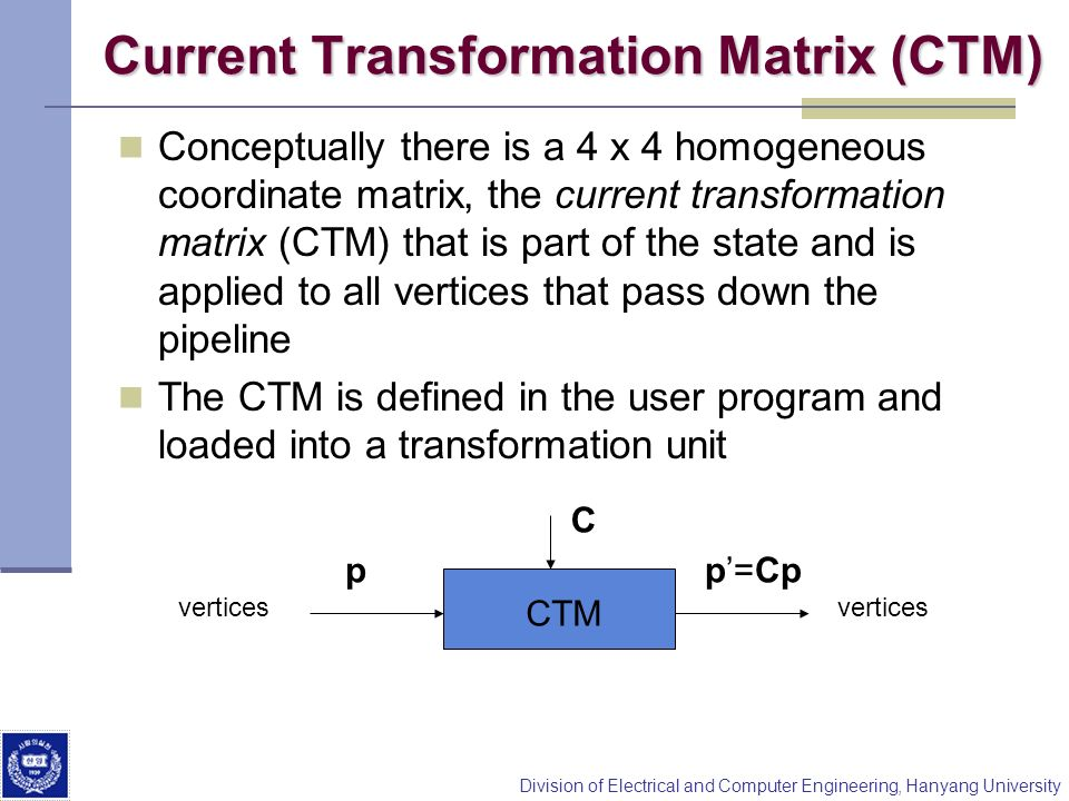 Current Transformation Matrix (CTM)