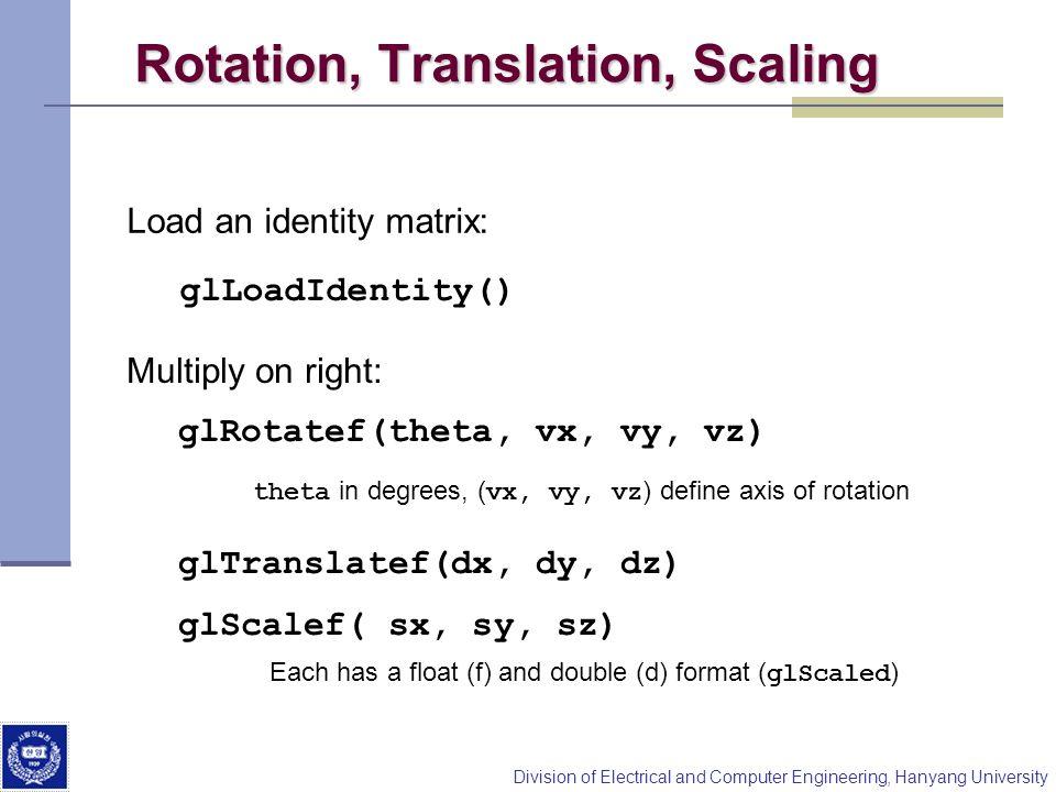 Rotation, Translation, Scaling