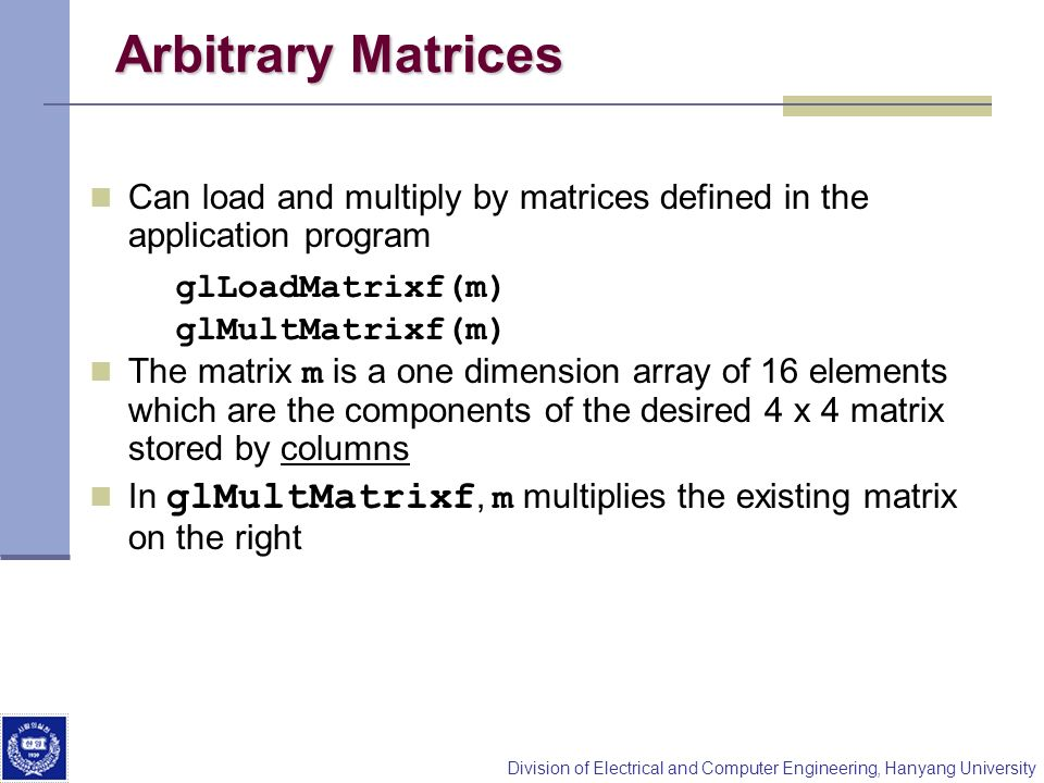 Arbitrary Matrices Can load and multiply by matrices defined in the application program.