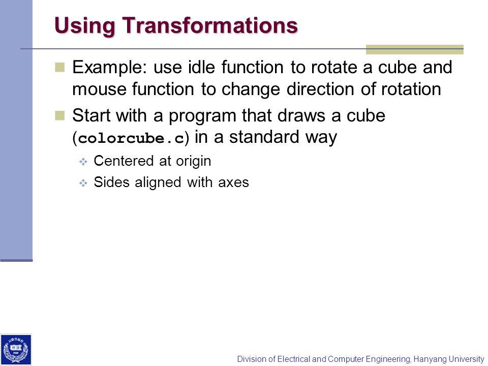 Using Transformations