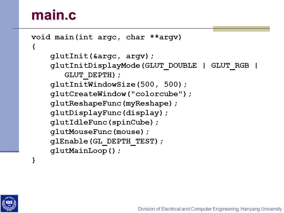 main.c void main(int argc, char **argv) { glutInit(&argc, argv);