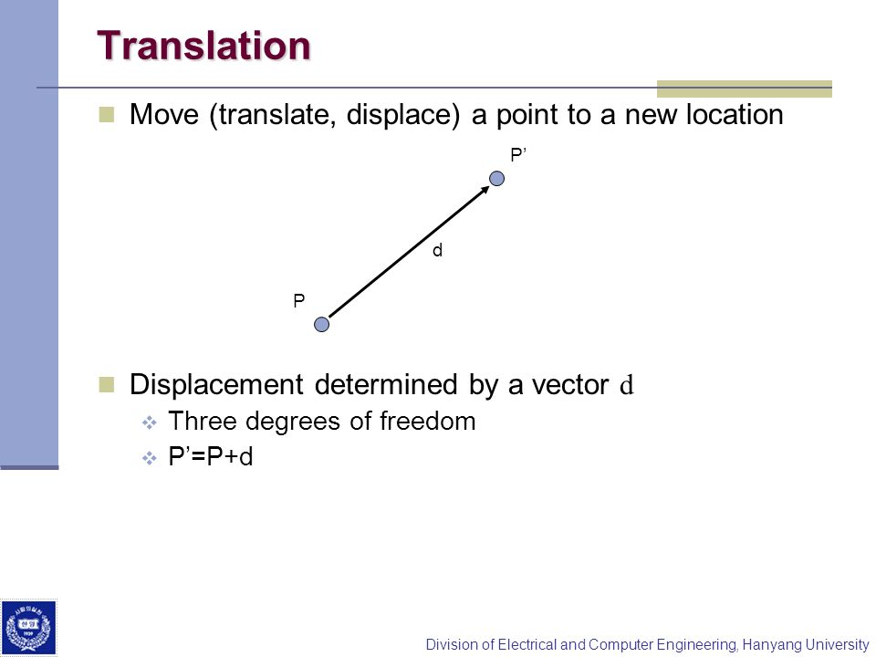 Translation Move (translate, displace) a point to a new location