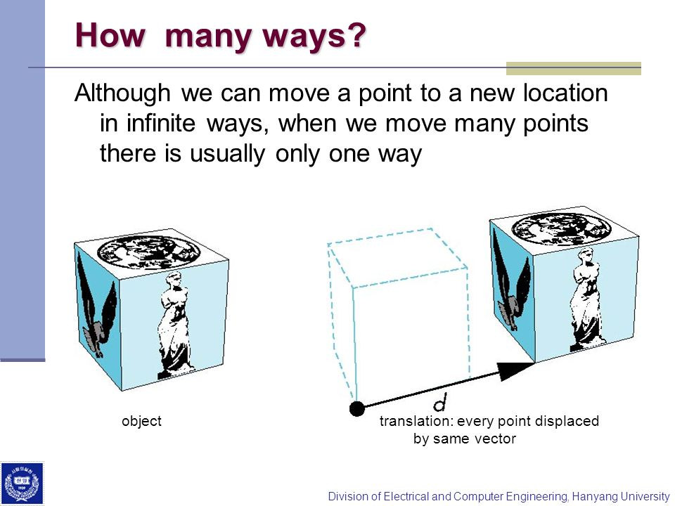 How many ways Although we can move a point to a new location in infinite ways, when we move many points there is usually only one way.