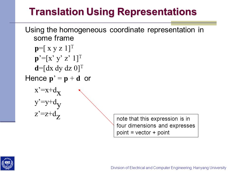 Translation Using Representations