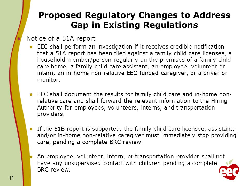 Proposed Regulatory Changes to Address Gap in Existing Regulations