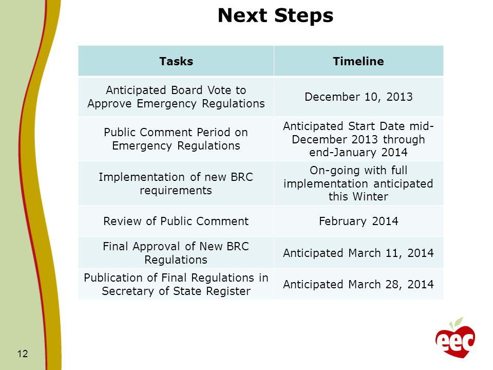 Next Steps Tasks Timeline