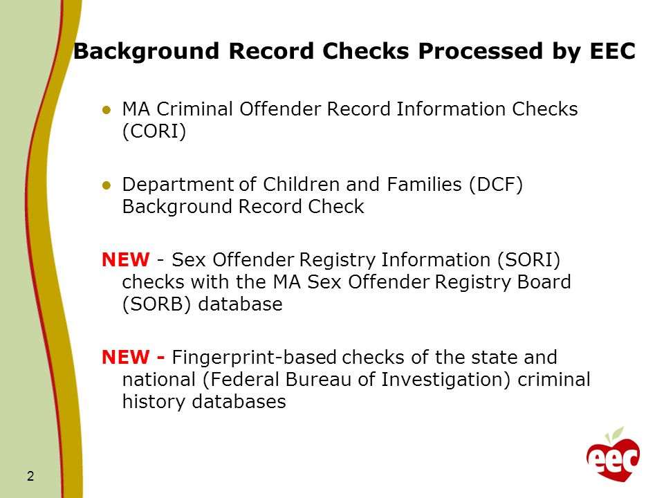 Background Record Checks Processed by EEC