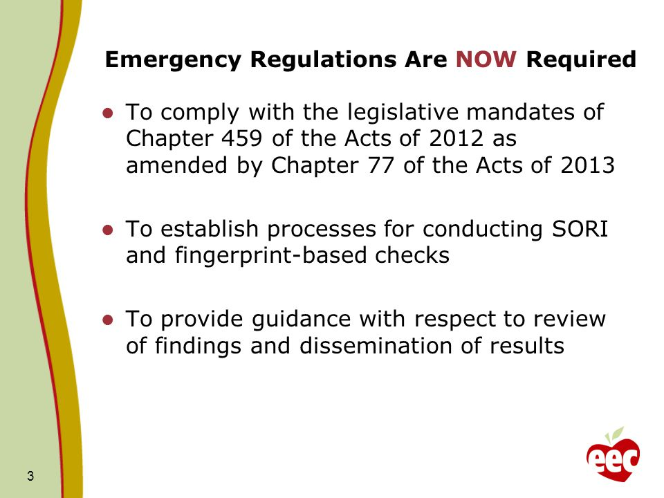 Emergency Regulations Are NOW Required