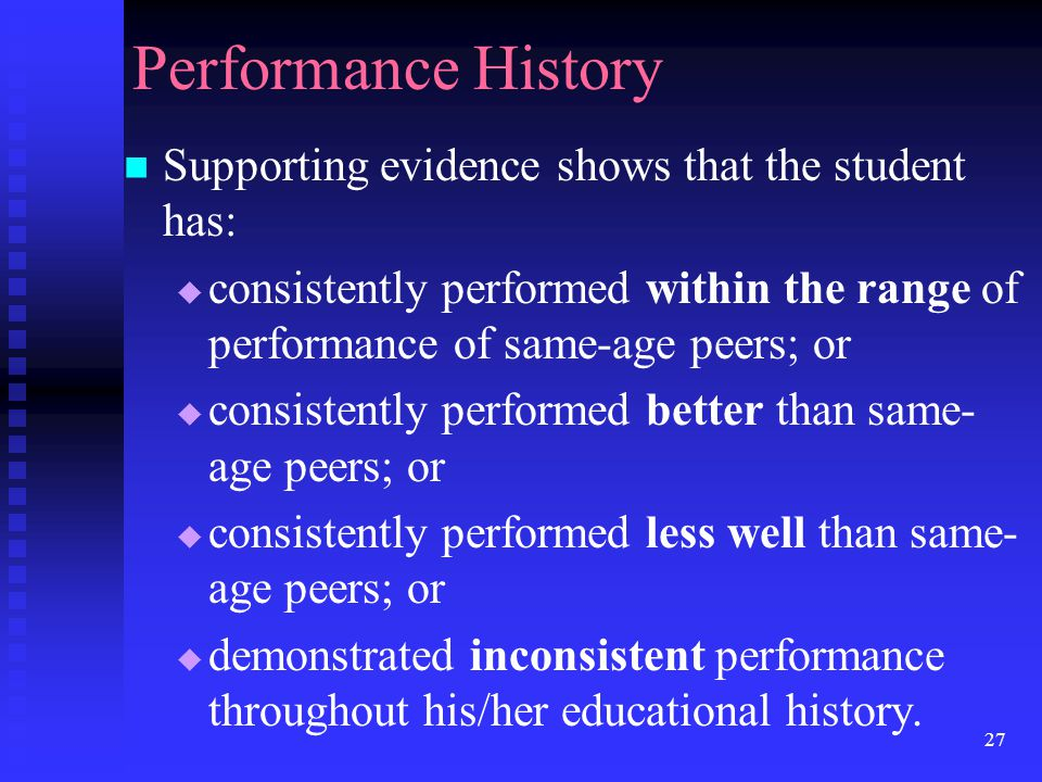 Performance History Supporting evidence shows that the student has: