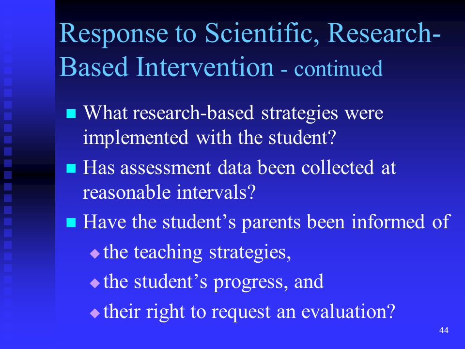 Response to Scientific, Research-Based Intervention - continued