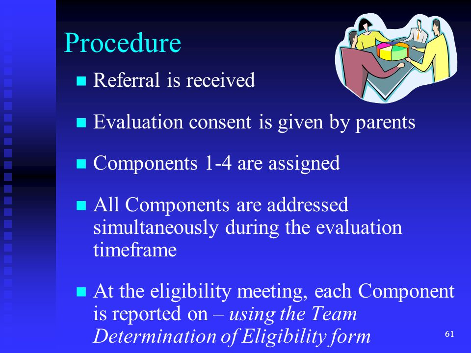 Procedure Referral is received Evaluation consent is given by parents