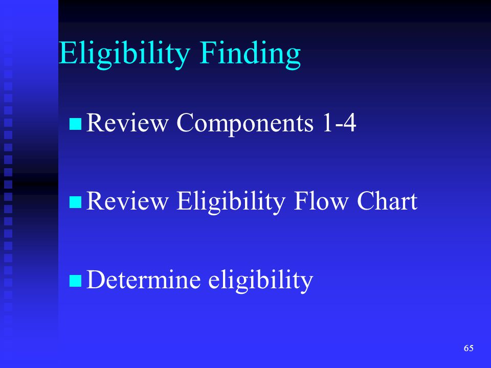 Eligibility Finding Review Components 1-4