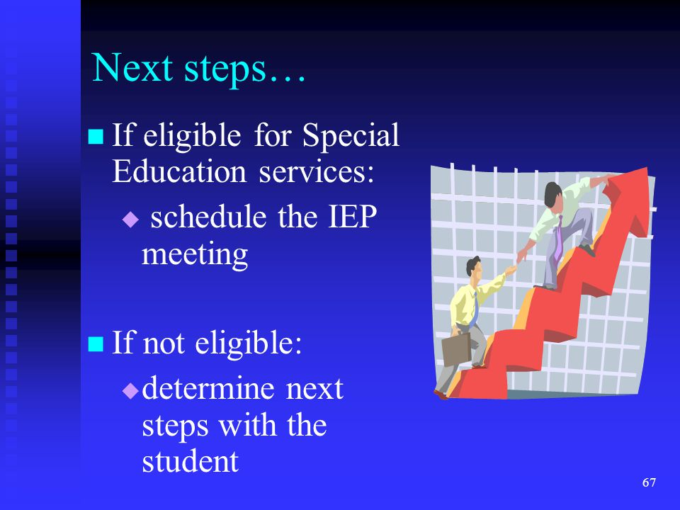 Next steps… If eligible for Special Education services: