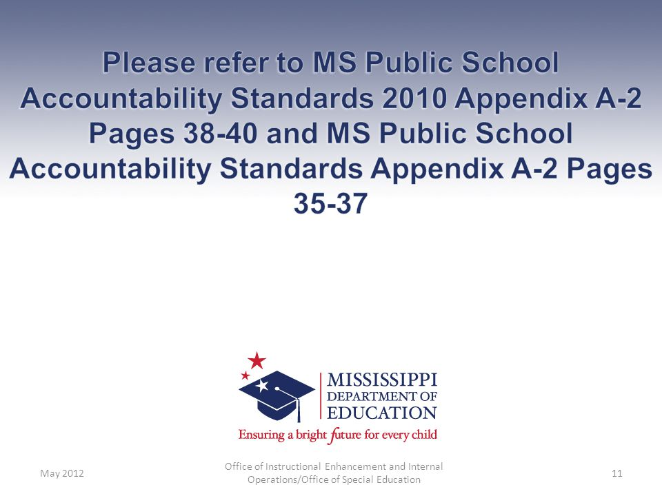 Please refer to MS Public School Accountability Standards 2010 Appendix A-2 Pages 38-40 and MS Public School Accountability Standards Appendix A-2 Pages 35-37
