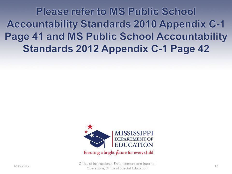 Please refer to MS Public School Accountability Standards 2010 Appendix C-1 Page 41 and MS Public School Accountability Standards 2012 Appendix C-1 Page 42