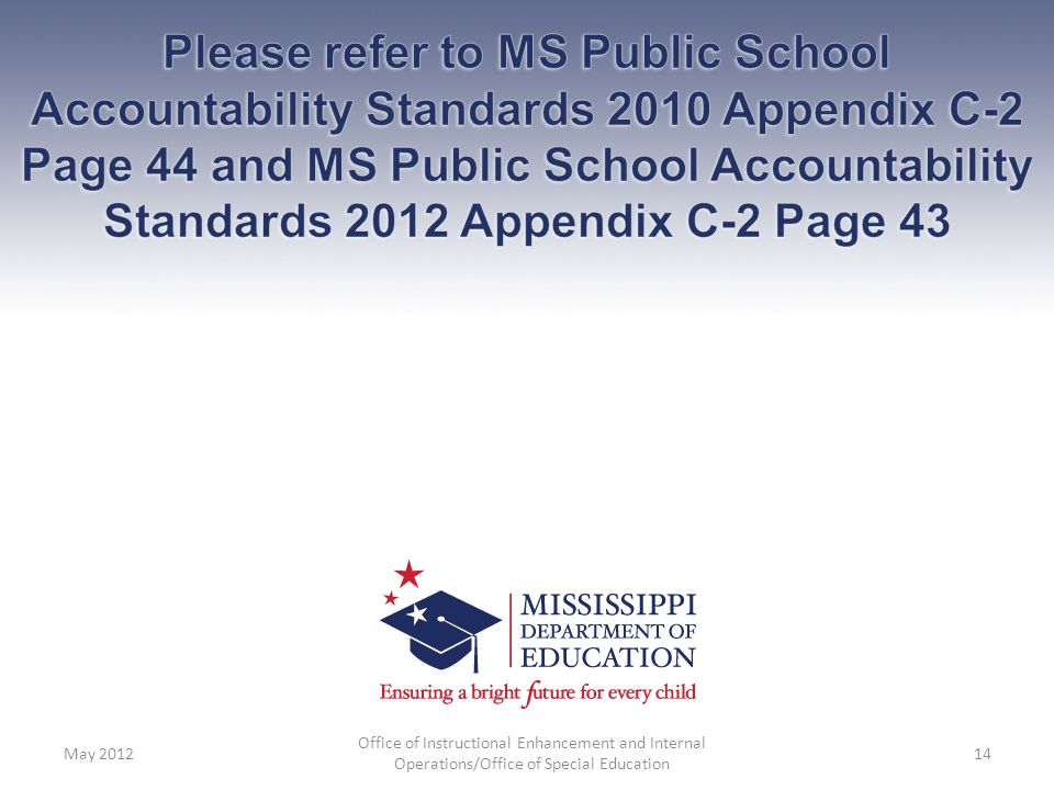 Please refer to MS Public School Accountability Standards 2010 Appendix C-2 Page 44 and MS Public School Accountability Standards 2012 Appendix C-2 Page 43