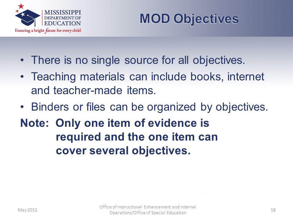 MOD Objectives