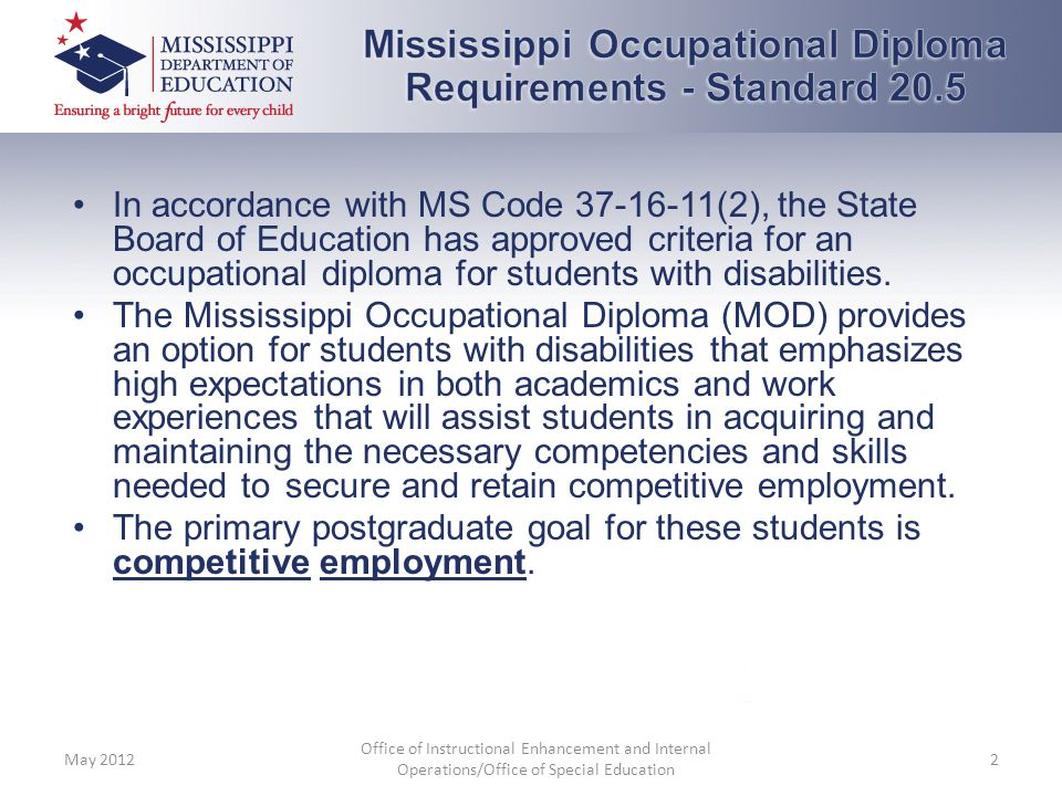 Mississippi Occupational Diploma Requirements - Standard 20.5