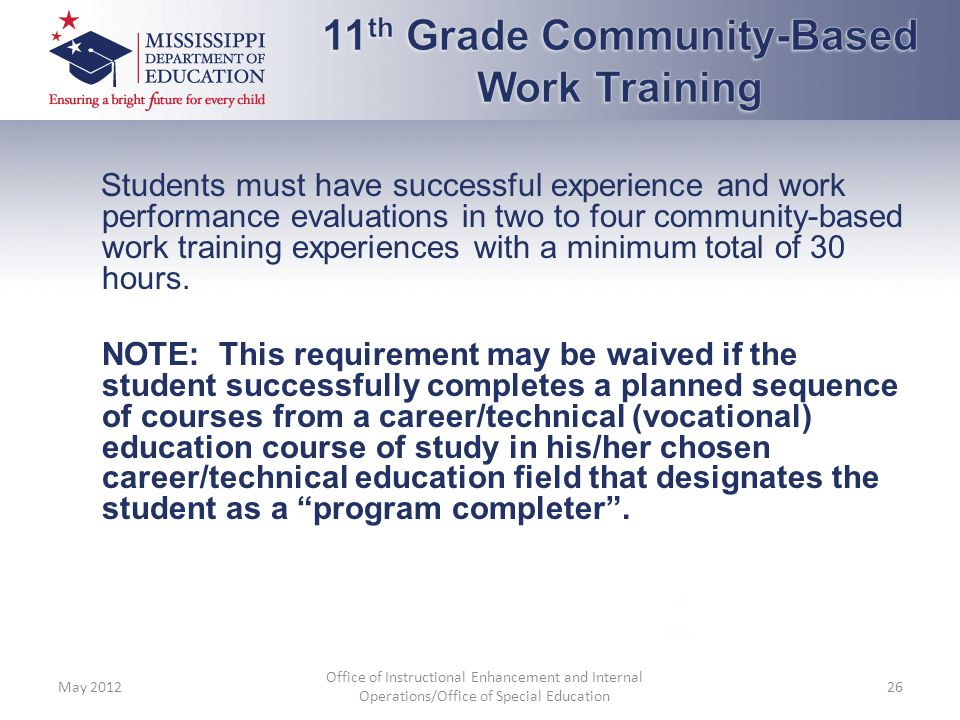 11th Grade Community-Based Work Training