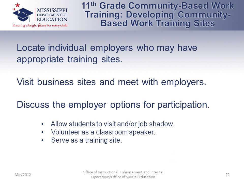 Locate individual employers who may have appropriate training sites.