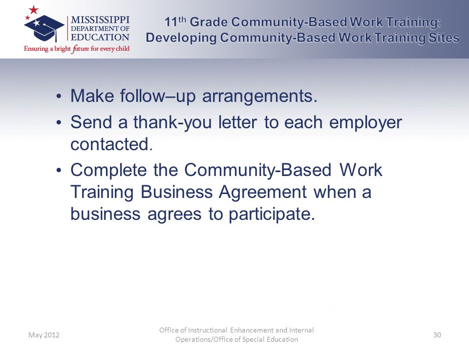 11th Grade Community-Based Work Training: Developing Community-Based Work Training Sites