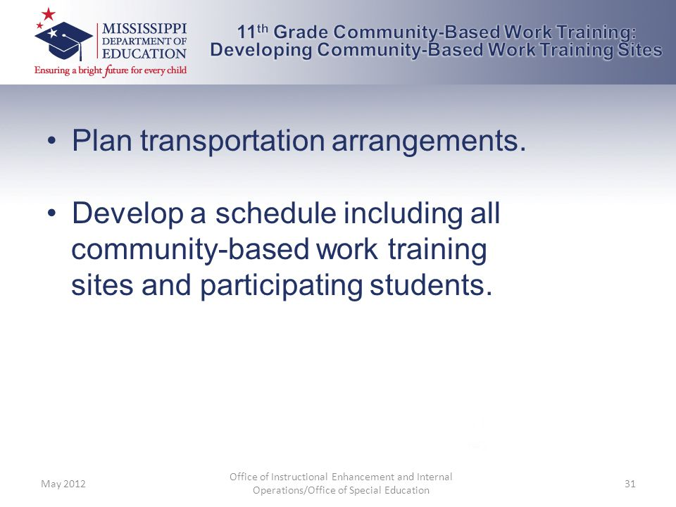 Plan transportation arrangements. Develop a schedule including all